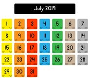 Calendar of the month of July 2019 stock illustration