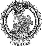 Detailed Capricorn in aztec style Royalty Free Stock Images