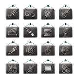 Detailed car parts icons Royalty Free Stock Photos