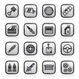Detailed car parts icons Stock Image