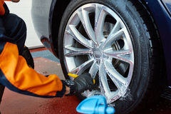 Detailed car wash. Detailed vehicle cleaning to washing Stock Photos