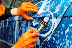 Detailed car wash. Detailed vehicle cleaning to washing Stock Photography