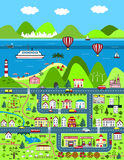 Detailed cartoon map with city, mountains, and sea Stock Images