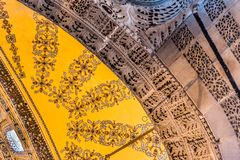 Detailed Ceiling of Hagia Sophia,a Greek Orthodox Christian patriarchal basilica church ow museum in Istanbul, Turkey,March,11 royalty free stock image