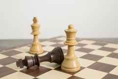 Detailed chessboard with chess during a check mate stock images