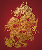 Coiled Chinese Dragon Gold on Red Stock Photography