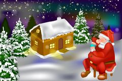 Vector - winter snow house in the forest and Santa stock illustration