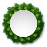 Detailed christmas wreath of fir branches with white board. Wreath of detailed Christmas tree branches  with white board for greeting card, poster, banner Royalty Free Stock Image