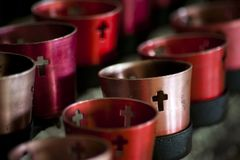 Candles in Christian Monastery royalty free stock photo