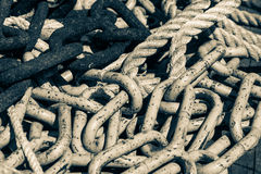 Detailed close up of chains stack and ropes Royalty Free Stock Images