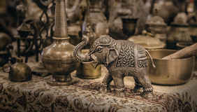 Detailed close-up elephant figurine made of metal. Stock Images