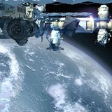 Detailed close-up of the International Space Station Royalty Free Stock Photo