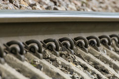 Detailed close up photo of a railroad track Stock Images
