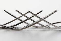 Detailed close up of steak forks lying in each other royalty free stock image
