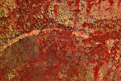 Detailed close up texture of brown and white rusty metal surfaces in high resolution stock image