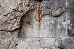 Detailed close up view on old and weathered concrete walls. Found at a lost place in germany stock photos
