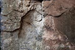 Detailed close up view on old and weathered concrete walls. Found at a lost place in germany stock photo