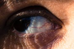 Close up of an eye with red vein. A detailed close up of a woman's eye with a visible red vein royalty free stock images