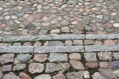 Detailed close views on cobblestone streets and sidewalks in different perspectives. Found in germany stock photo