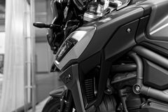Close up of stylized modern Triumph motorcycle stock photography