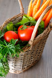 Detailed closeup of a basket with vegetables Royalty Free Stock Photos