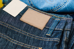 Detailed closeup of blank grungy leather label Royalty Free Stock Images