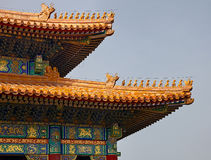 A detailed closeup of the Chinese Roofs architecture at the Forbidden City in Beijing, China. The Palace of Heavenly Purity Stock Image
