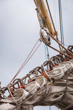 Detailed closeup of mast rigging on sail boat Stock Photos