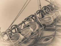 Detailed closeup of mast rigging on sail boat. During cruise. Marine objects concept Royalty Free Stock Images