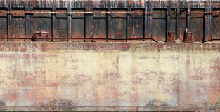 Detailed closeup old rusted barge hull photo texture Stock Images