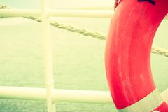 Detailed closeup, part of rescue ring lifebuoy Royalty Free Stock Photos