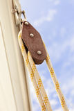 Detailed closeup of rigging on sail boat Royalty Free Stock Images