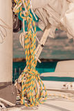Detailed closeup of rigging on sail boat Royalty Free Stock Photos