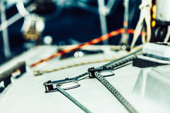 Detailed closeup of rigging on sail boat Stock Photo