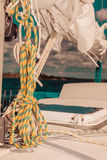Detailed closeup of rigging on sail boat. During cruise. Marine objects concept Royalty Free Stock Image