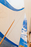 Detailed closeup of sail on sailboat Royalty Free Stock Photography