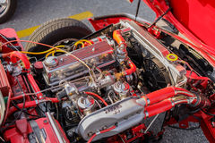 detailed closeup view of old classic retro vintage car engine Stock Image