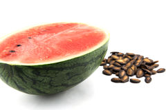 Detailed closeup of watermelon, seed Royalty Free Stock Photo