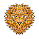 Detailed colored Lion in aztec style. Patterned head of the  on  background. African indian totem tattoo design. Detailed colored Lion in aztec style. Patterned Stock Photo
