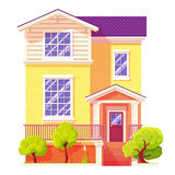 Detailed colorful cottage house. Townhouse concept. Flat style. Vector illustration. Architecture home apartment urban family life stock illustration