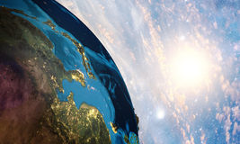 Detailed colorful Earth. Highly detailed planet earth in the morning stock photo