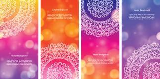 Colour Mandala Banners. Detailed Colorful Mandala Banners, with copy space Stock Photos