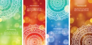 Colour Mandala Banners. Detailed Colorful Mandala Banners, with copy space Royalty Free Stock Photos