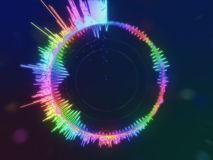 A detailed colorful multicolored equalizer in a circle. Audio spectrum Royalty Free Stock Images