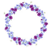Detailed contour wreath with anemone flowers Stock Images