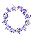 Detailed contour wreath with forget-me-nots and Royalty Free Stock Images