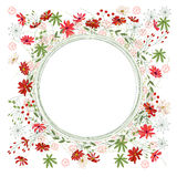 Detailed contour wreath with herbs, daisy and wild flowers isolated on white. Round frame for your design Royalty Free Stock Photo