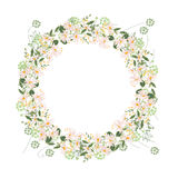 Detailed contour wreath with herbs, daisy and wild flowers isolated on white. Round frame for your design Stock Photo