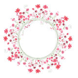 Detailed contour wreath with herbs and red flowers isolated on white. Round frame for your design Stock Photography