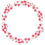 Detailed contour wreath with herbs, roses and wild flowers isolated on white. Round frame for your design Royalty Free Stock Photo